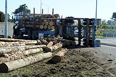 Hastings-Logging truck drops load