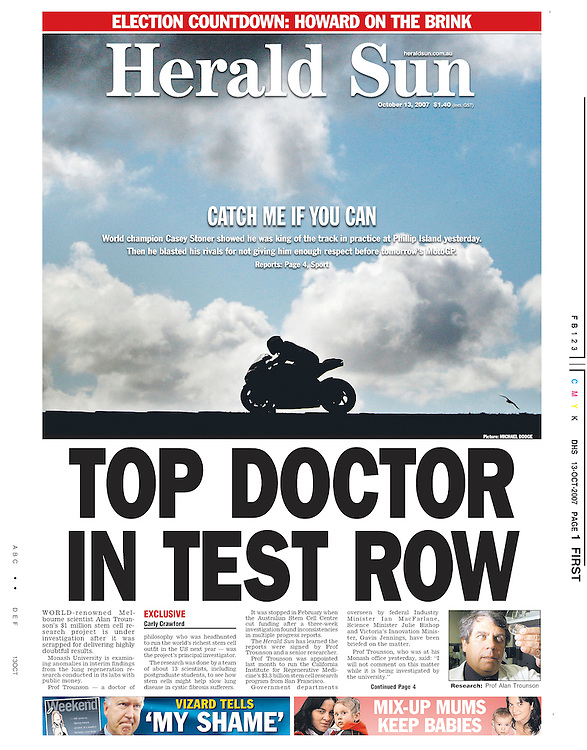 Australian World Champion Casey Stoner easily won the 2007 Australian Moto GP at Phillip Island. Made for a nice run in the paper the next day thanks to Herald Sun Editor-In-Chief at the time in Bruce Guthrie. (Copyright Michael Dodge/Herald Sun)
