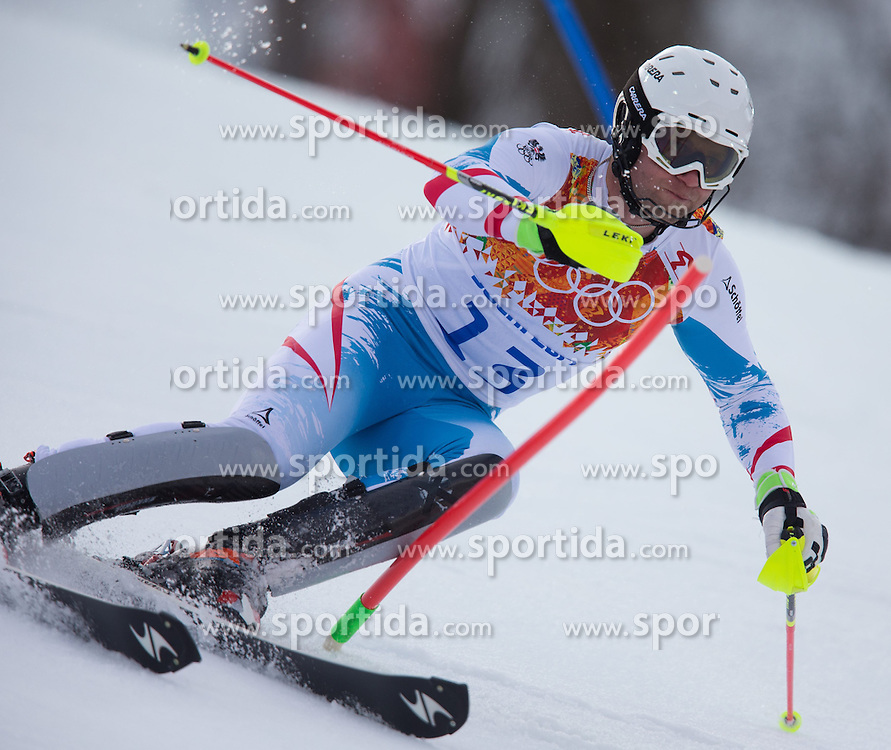 14.02.2014, Rosa Khutor Alpine Center, Krasnaya Polyana, RUS, Sochi 2014, Super- Kombination, Herren, Slalom, im Bild Romed Baumann (AUT) // Romed Baumann of Austria in action during the Slalom of the mens Super Combined of the Olympic Winter Games 'Sochi 2014' at the Rosa Khutor Alpine Center in Krasnaya Polyana, Russia on 2014/02/14. EXPA Pictures © 2014, PhotoCredit: EXPA/ Johann Groder