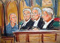 ©PRISCILLA COLEMAN ITV 19.01.05.SUPPLIED BY: PHOTONEWS SERVICE LTD OLD BAILEY.PIC SHOWS: MICHAEL STONE (LEFT) LISTENING TO THE VERDICT BY THREE JUDGES AT THE COURT OF APPEAL, HIGH COURT TODAY AFTER THREE JUDGES UPHELD HIS CONVICTIONS FOR MURDER. STONE WAS CONVICTED OF THE MURDERS OF LIN AND MEGAN RUSSELL IN KENT IN 1996..ILLUSTRATION: PRISCILLA COLEMAN ITV