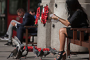 A young woman feeds the birds at Bank triangle in the City of London, UK.