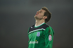 CARDIFF, WALES - Tuesday, January 24, 2012: Cardiff City's goalkeeper Tom Heaton during the penalty shoot-out against Crystal Palace during the Football League Cup Semi-Final 2nd Leg at the Cardiff City Stadium. (Pic by David Rawcliffe/Propaganda)