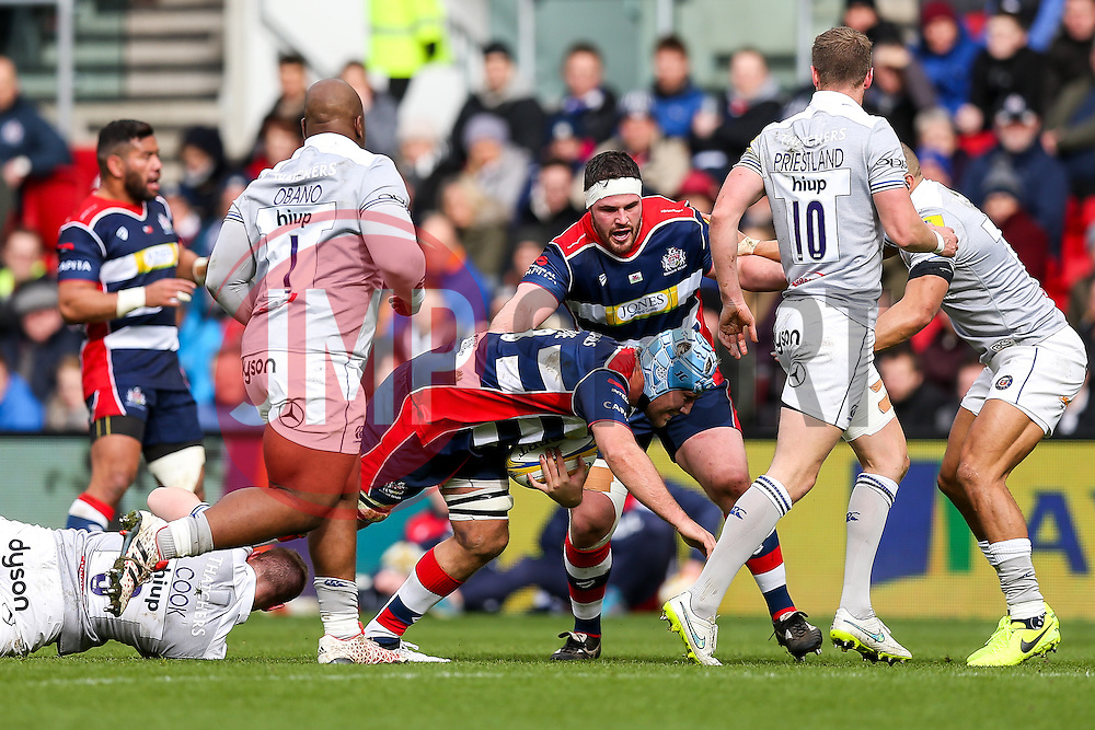 Jordan Crane (c) of Bristol Rugby is tackled by Chris Cook of Bath Rugby - Rogan Thomson/JMP - 26/02/2017 - RUGBY UNION - Ashton Gate Stadium - Bristol, England - Bristol Rugby v Bath - Aviva Premiership.