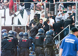 07.05.2011, Commerzbank-Arena, Frankfurt, GER, 1. FBL, Eintracht Frankfurt vs 1.FC Koeln, im Bild die Polizei draengt die Randalierer zurueck in den Block, EXPA Pictures © 2011, PhotoCredit: EXPA/ nph/  Roth       ****** out of GER / SWE / CRO  / BEL ******