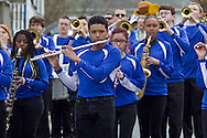 Middletown, New York - Members of the Middletown High School Marching Middies band perform during the 60th annual Middletown Little League parade on April 14, 2013.