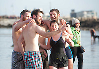 25/12/2015 Swimmers in Salthill  Galway take selfie after taking part in the COPE annual Christmas Day swim  . Photo:Andrew Downes