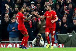 Adam Lallana of Liverpool celebrates after scoring the equalising goal to make it 1-1 - Mandatory by-line: Matt McNulty/JMP - 27/12/2016 - FOOTBALL - Anfield - Liverpool, England - Liverpool v Stoke City - Premier League
