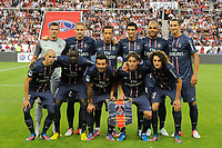 FOOTBALL - FRIENDLY GAMES 2012/2013 - TROPHEE DE PARIS - PARIS SAINT GERMAIN v FC BARCELONA - 04/08/2012 - PHOTO JEAN MARIE HERVIO / REGAMEDIA / DPPI - TEAM PARIS SG ( BACK ROW LEFT TO RIGHT: NICOLAS DOUCHEZ / MATHIEU BODMER / NENE / JAVIER PASTORE / ALEX / ZLATAN IBRAHIMOVIC. FRONT ROW: CHRISTOPHE JALLET / MAMADOU SAKHO / EZEQUIEL LAVEZZI / MAXWELL / ADRIEN RABIOT )