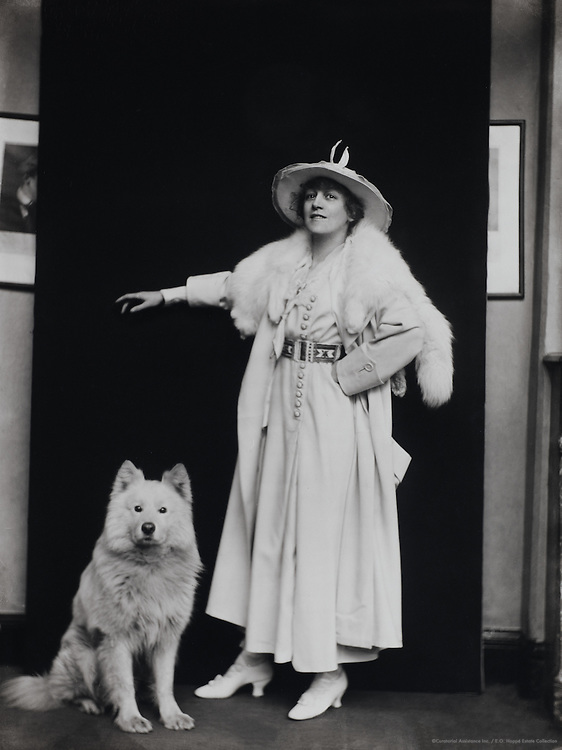 Madge Titheradge, with a dog, England, UK, 1916