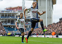 Football - 2016 / 2017 Premier League - Tottenham Hotspur vs. Stoke City<br /> <br /> Harry Kane of Tottenham celebrates scoring against the backdrop of the construction of the new stadium at White Hart Lane.<br /> <br /> COLORSPORT/DANIEL BEARHAM