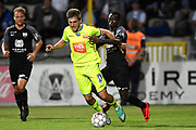 Giorgi Chakvetadze and Lazare Amani fight for the ball during the Jupiler Pro League matchday 4 between Kas Eupen and Kaa Gent on August 19, 2018 in Eupen, Belgium, Photo by David Hagemann /Isosport / Pro Shots / ProSportsImages / DPPI