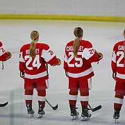 The Boston University players during the national anthem before the UConn Vs Boston University, Women's Ice Hockey game at Mark Edward Freitas Ice Forum, Storrs, Connecticut, USA. 5th December 2015. Photo Tim Clayton