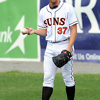 07 August 2011:  Stephen Strasburg warms up prior to pitching against the Greensboro Grasshoppers in his first rehab assignment for the Class A Hagerstown Suns since his Tommy John surgery in September 2010 on August 7, 2011 in Hagerstown, Maryland.