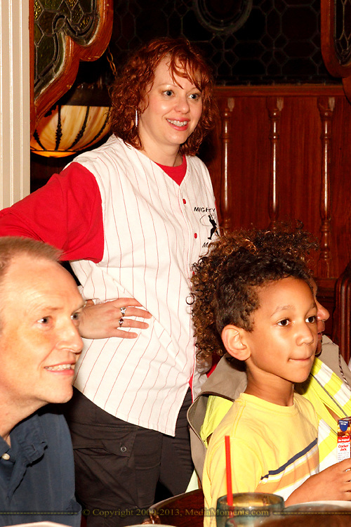 "Tamra Francis as Lee Pepper (standing) during Mayhem & Mystery's production of ""Baseball Battle"" at the Spaghetti Warehouse in downtown Dayton, Monday, May 7, 2012."