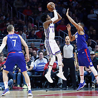 13 January 2018: Sacramento Kings guard De'Aaron Fox (5) goes for the jump shot over LA Clippers forward Wesley Johnson (33) during the LA Clippers 126-105 victory over the Sacramento Kings, at the Staples Center, Los Angeles, California, USA.