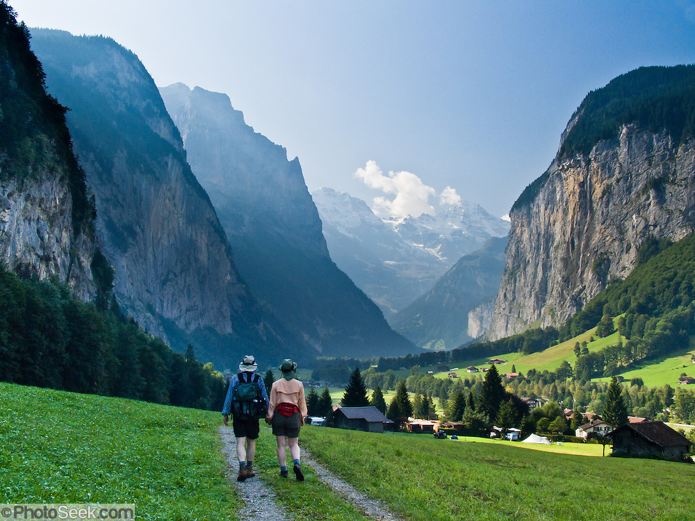 "The Lauterbrunnen Breithorn rises to 3780 meters or 12,402 feet elevation above Lauterbrunnen Valley (795 m or 2608 ft) in the Berner Oberland, Switzerland, the Alps, Europe. Take trains from Zurich to Interlaken Ost to Lauterbrunnen. The Bernese Highlands are the upper part of Bern Canton. UNESCO lists ""Swiss Alps Jungfrau-Aletsch"" as a World Heritage Area (2001, 2007)."