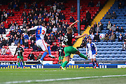 Danny Graham puts Blackburn Rovers 1-0 up during the Sky Bet Championship match between Blackburn Rovers and Bristol City at Ewood Park, Blackburn, England on 23 April 2016. Photo by Pete Burns.