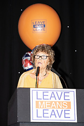 "© Licensed to London News Pictures . 22/09/2018. Bolton, UK. KATE HOEY speaks . Pro Brexit campaign group Leave Means Leave host a "" Save Brexit "" and "" Chuck Chequers "" rally at the University of Bolton Stadium , attended by leave-supporting politicians from a cross section of parties , including Conservative David Davis , former UKIP leader Nigel Farage and Labour's Kate Hoey . Photo credit: Joel Goodman/LNP"