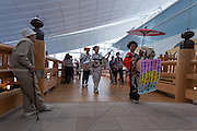 Actors dress as characters from the Edo (samurai) Period and play traditional instruments to welcome visitors to Haneda International Airport, Tokyo, Japan. Tuesday May 3rd 2016. The Edo festival takes place over the three days of national holidays called Golden Week ( May 3rd to 5th) and features costume parades, music and stage shows along with other fun activities for visitors in and around the Edo themed shopping areas in the terminal building.
