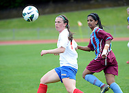 Elise Manau-Gray of Auckland football looks to obtain the ball, in the ASB women's league match between Football South and Auckland Football, at the Caledonian Ground, Dunedin, New Zealand,  20 October 2013. Credit: Joe Allison / allisonimages.co.nz