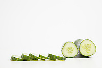 Close-up of cucumber with slices