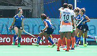 ANTWERP -   Elisabetta Pacella (l) has scored foro India and celebrates  during  the hockeymatch   India v Italy  (5-8 place).  WSP COPYRIGHT KOEN SUYK