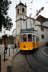 PORTUGAL LISBON 8OCT06 - Tram No 28 which travels on a very scenic route through Lisbon's narrow streets and a major tourist attraction.. . jre/Photo by Jiri Rezac. . © Jiri Rezac 2006. . Contact: +44 (0) 7050 110 417. Mobile:  +44 (0) 7801 337 683. Office:  +44 (0) 20 8968 9635. . Email:   jiri@jirirezac.com. Web:    www.jirirezac.com. . © All images Jiri Rezac 2006 - All rights reserved.