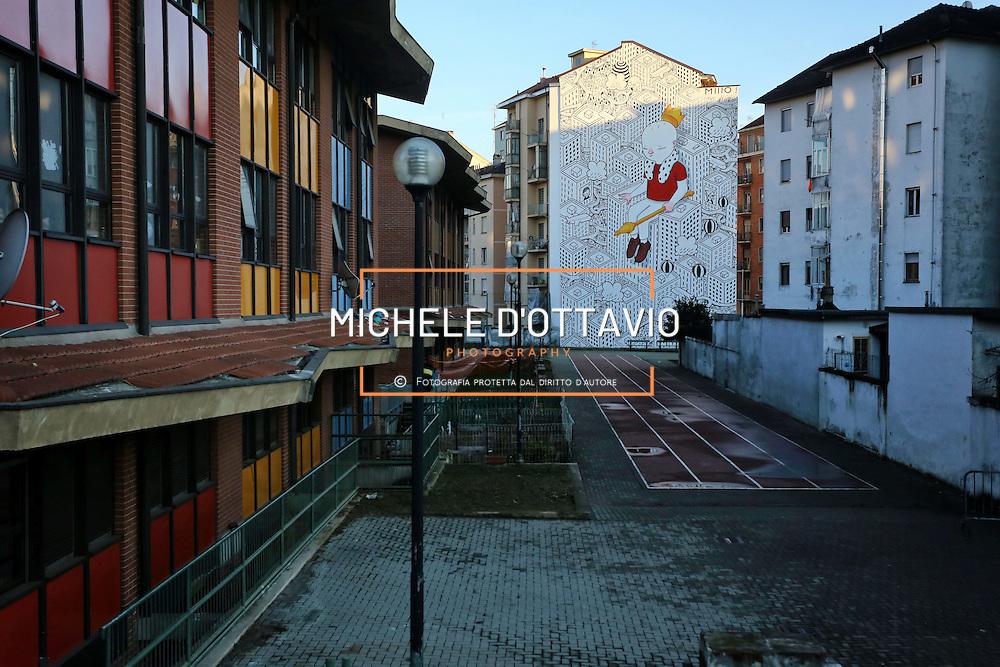 """""""Habitat"""" progetto dello street artist Millo su 13 facciate cieche del quartiere Barriera. Interventi di arte pubblica nell'ambito del piano di riqualificazione urbana del programma Urban Barriera di Milano di Torino"""