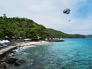Parasailing along a resort beach in Nha Trang area, Vietnam, Southeast Asia