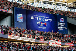 The scoreboard congratulates Bristol City after they win the match 2-0 to lift the Football League Trophy - Photo mandatory by-line: Rogan Thomson/JMP - 07966 386802 - 22/03/2015 - SPORT - FOOTBALL - London, England - Wembley Stadium - Bristol City v Walsall - Johnstone's Paint Trophy Final.