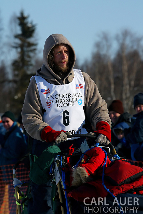 3/4/2007:  Willow, Alaska -  Veteran Sebastian Schnuelle of Whitehorse, YT CANADA looks ahead at the beginning of the 1049 mile trek to Nome, AK at the start of the 35th Iditarod Sled Dog Race