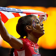 DeeDee Trotter of the United States celebrated following her bronze medal in the women's 400m final at Olympic Stadium during the 2012 Summer Olympic Games in London, England, Sunday, August 5, 2012. (David Eulitt/Kansas City Star/MCT)