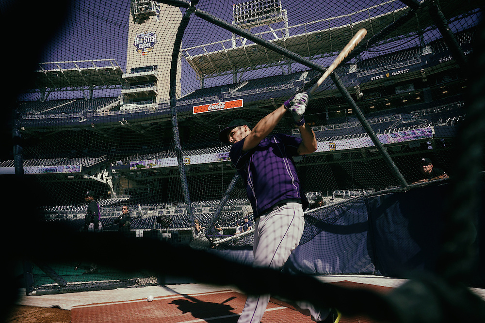 San Diego, CA - JUNE 04:   Nolan Arenado takes batting practice before game with the Padres at Petco Park during game with the San Diego Padres San Diego, California.  (Sandy Huffaker for ESPN)
