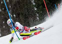 """Loic Meillard (SUI) competes during 1st Run of FIS Alpine Ski World Cup 2017/18 Men's Slalom race named """"Snow Queen Trophy 2018"""", on January 4, 2018 in Course Crveni Spust at Sljeme hill, Zagreb, Croatia. Photo by Vid Ponikvar / Sportida"""