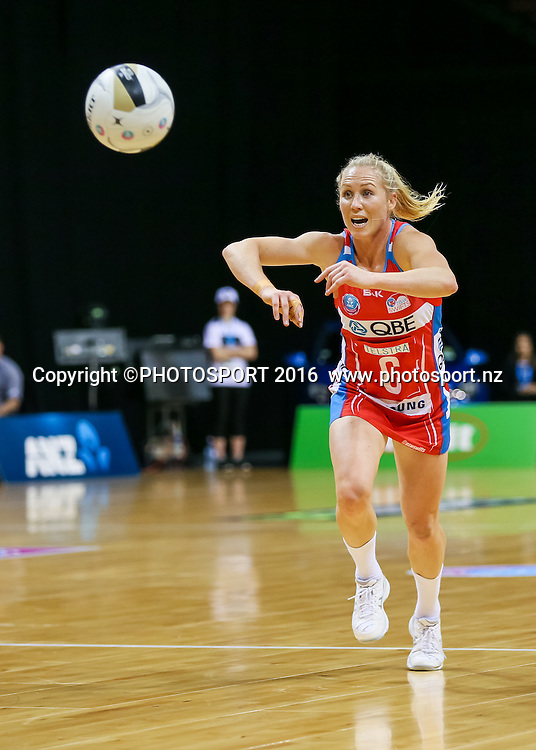 NSW Swift's Laura Langman passes during the ANZ Netball Championship semi final between the Waikato BOP Magic and the NSW Swifts, played at Claudelands Arena, Hamilton, New Zealand on Monday 25 July 2016.  Copyright Photo: Bruce Lim / www.photosport.nz