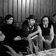 Photo of David Byrne and The Edge from Talking Heads at a Moscow press conference with the USSR Greenpeace mission 1989