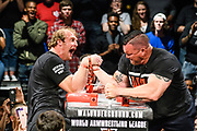 Baltimore, Maryland - May 17, 2018: World Armwrestling League heavyweight Matt Mask, left, competes against Marcio Barboza during the WAL Supermatch Showdown Series at Rams Head Live in Baltimore, Thursday May 17th, 2018. Mask would win the match. Bleacher Report Live is the exclusive broadcaster of the event. With the recent advent of online video streaming services, niche sporting leagues are now able to sign broadcast deals. <br /> <br /> <br /> CREDIT: Matt Roth for The New York Times<br /> Assignment ID: 30219819A
