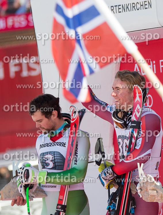 30.01.2016, Kandahar, Garmisch Partenkirchen, GER, FIS Weltcup Ski Alpin, SuperG, Damen, Siegerpräsentation, im Bild v.l. Bostjan Kline (SLO, 2. Platz), Aleksander Aamodt Kilde (NOR, 1. Platz) // 2nd placed Bostjan Kline of Slovenia ( L ), Hannes Reichelt of Austria ( R ) on podium during the winner presentation for the men's Downhill of Garmisch FIS Ski Alpine World Cup at the Kandahar course in Garmisch Partenkirchen, Germany on 2016/01/30. EXPA Pictures © 2016, PhotoCredit: EXPA/ Johann Groder