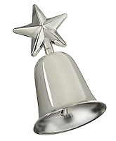 silver christmas bell with a star on top