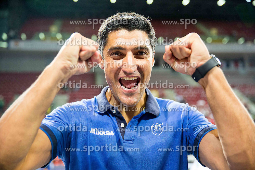 Andrea Giani, head coach of Slovenia celebrates after winning during volleyball match between National teams of Slovenia and Italy in 1st Semifinal of 2015 CEV Volleyball European Championship - Men, on October 17, 2015 in Arena Armeec, Sofia, Bulgaria. Photo by Vid Ponikvar / Sportida