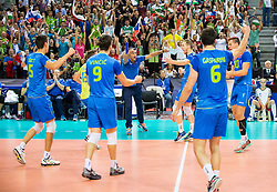 Alen Sket #5 of Slovenia, Dejan Vincic #9 of Slovenia, Andrea Giani, head coach of Slovenia, Tine Urnaut #17 of Slovenia Mitja Gasparini #6 of Slovenia, Jan Kozamernik #10 of Slovenia react during volleyball match between National teams of Slovenia and France at Final match of 2015 CEV Volleyball European Championship - Men, on October 18, 2015 in Arena Armeec, Sofia, Bulgaria. Photo by Vid Ponikvar / Sportida