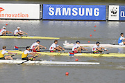 Chungju, South Korea. Men's NED M4- Bow. Boaz MEYLINK (b) , Kaj HENDRIKS (2) , Mechiel VERSLUIS (3) , Robert LUECKEN .<br /> <br /> AUS	M4-. William LOCKWOOD (b) , Alexander LLOYD (2) , Spencer TURRIN (3) , Joshua DUNKLEY-SMITH (s)<br /> <br /> USA	M4- Grant JAMES (b) , Seth WEIL (2) , Henrik RUMMEL (3) , Michael GENNARO. <br /> <br /> ITA	M4- Matteo LODO Bow. Paolo PERINO (2) , Mario PAONESSA (3) , Giuseppe VICINO (s)<br /> <br /> 2013 Rowing Championships, Tangeum Lake, International Regatta Course.  Saturday  31/08/2013 [Mandatory Credit. Peter Spurrier/Intersport Images]