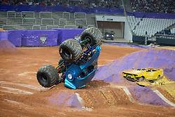 December 16, 2017 - Sao Paulo, Sao Paulo, Brazil - NEA Police turns and hits the obstacle  during a round of racing. Monster Jam was held at Corinthians Stadium, in Sao Paulo, Brazil. (Credit Image: © Paulo Lopes via ZUMA Wire)