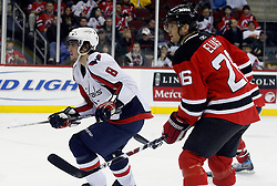 December 7, 2007; Newark, NJ, USA;  Washington Capitals left wing Alexander Ovechkin (8) skates by New Jersey Devils left wing Patrik Elias (26) during the 3rd period at the Prudential Center in Newark, NJ.  The Devils won 3-2, their ninth win in a row.
