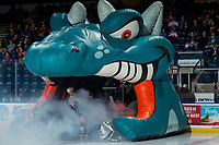 KELOWNA, CANADA - MARCH 13:  Cayde Augustine #5 of the Kelowna Rockets enters the ice against the Spokane Chiefs on March 13, 2019 at Prospera Place in Kelowna, British Columbia, Canada.  (Photo by Marissa Baecker/Shoot the Breeze)