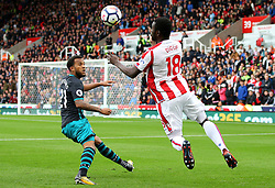 Mame Biram Diouf of Stoke City takes on Ryan Bertrand of Southampton - Mandatory by-line: Matt McNulty/JMP - 30/09/2017 - FOOTBALL - Bet365 Stadium - Stoke-on-Trent, England - Stoke City v Southampton - Premier League