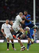 Twickenham, Great Britain, Left Mike BROWN, jumps with Noa NAKAITACI, during the Six Nations Rugby England vs France, played at the RFU Stadium, Twickenham, ENGLAND. <br /> <br /> Saturday   21/03/2015<br /> <br /> [Mandatory Credit; Peter Spurrier/Intersport-images]