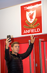 LIVERPOOL, ENGLAND - Sunday, June 18, 2017: Marcus Willis takes a selfie as he touches the This Is Anfield sign on a visit Anfield during Day Four of the Liverpool Hope University International Tennis Tournament 2017. (Pic by David Rawcliffe/Propaganda)