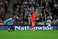 Photo: Tony Oudot/Richard Lane Photography.  England v Czech Republic. International match. 20/08/2008. <br /> Vaclav Sverkos of Czech Republic beats David James but luckily for England shoots wide