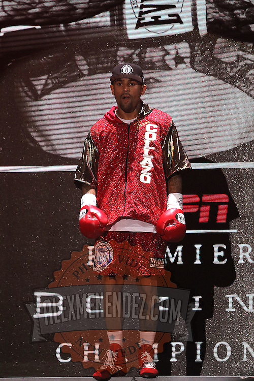 Luis Collazo is seen during introductions prior to his fight against Keith Thurman at the Premier Boxing Champions boxing match for the WBA Welterweight title on ESPN at the USF Sun Dome, on Saturday, July 11, 2015 in Tampa, Florida.  Thurman won the bout when the corner of Collazo stopped the fight at the beginning of the eighth round. (AP Photo/Alex Menendez)